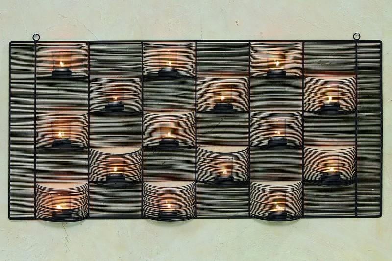 Wanddeko Aus Holz Und Metall ~ Deko Wand Objekt Wanddeko Windlicht 034 Saba 034 104 x 52 cm schwarz