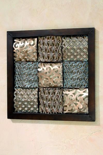 wohnzimmer naturfarben:wanddeko wohnzimmer metall : Wanddeko Square , 56 cm, naturfarben