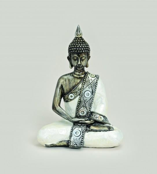 Thai Buddha Figur, sitzend, 21 cm, weiß-silber