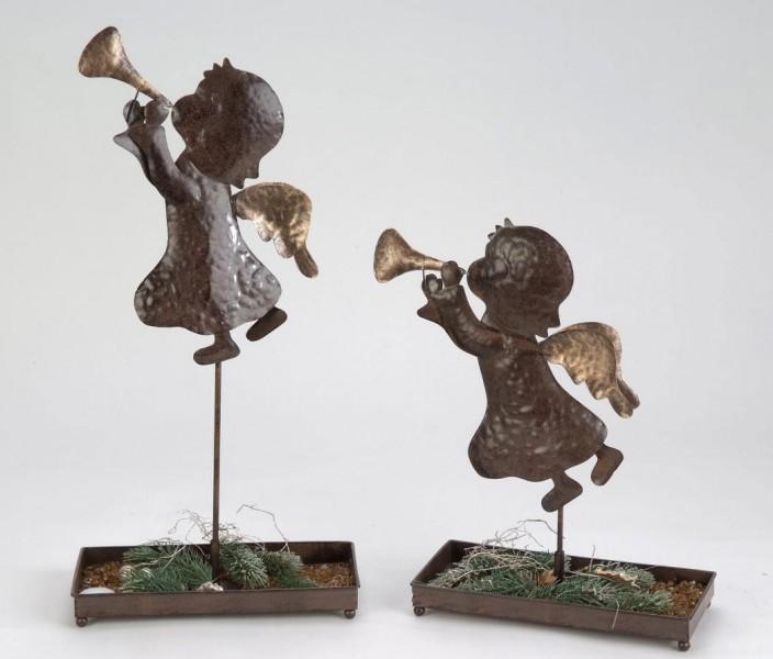 Deko Engel mit Schale, antik-braun, sortiert