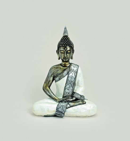 Thai Buddha Figur, sitzend, 41 cm, weiß-silber