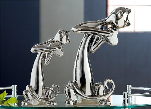 Deko Katzen, 2-teiliges Set, 31,5 + 24 cm, platin