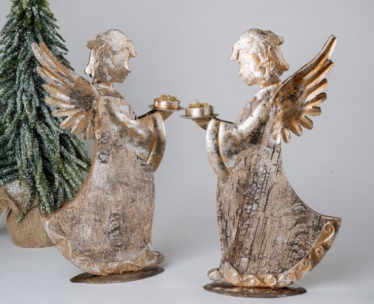 Deko Engel, stehend mit Teelichthalter, 40 cm, gold