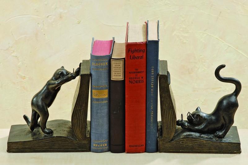 Buchständer katzen 2 teiliges set 17 cm schwarzbraun