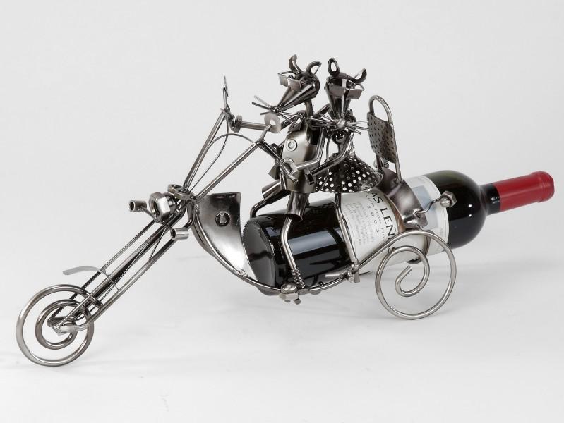"""Flaschenhalter aus Metall """"2 Mäuse auf Motorrad"""", 40 cm"""