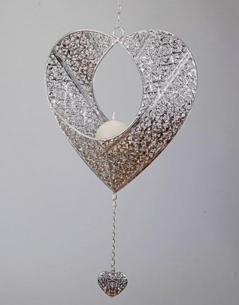 Deko Herz zum Hängen, 32 cm, silber