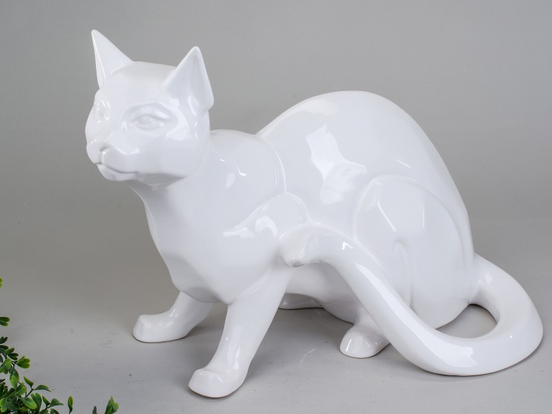 Deko Katze, sitzend, 38 cm, weiß-glasiert