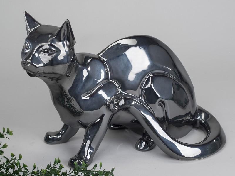 Deko Katze, sitzend, 38 cm, platinum